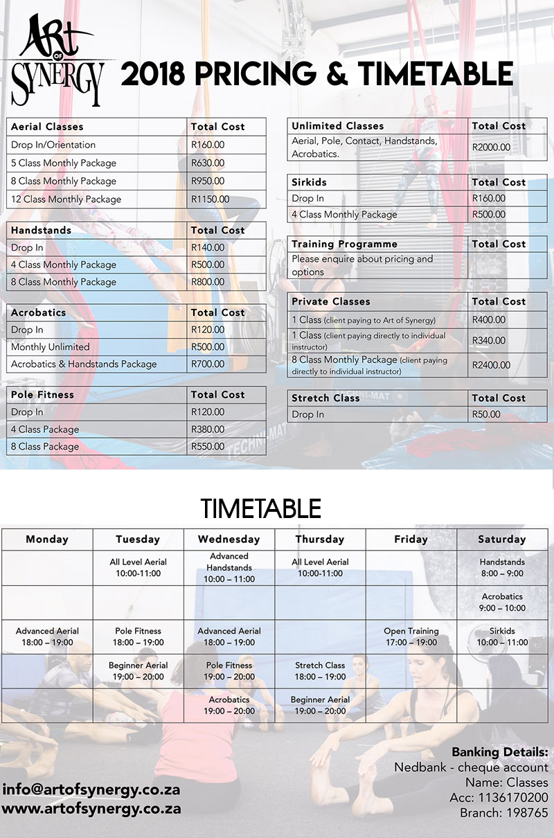 price timetable2018